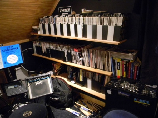 The music periodical library. 30+ years of Modern Drummer magazine plus lots of catalogs, lesson books and other drummer stuff.