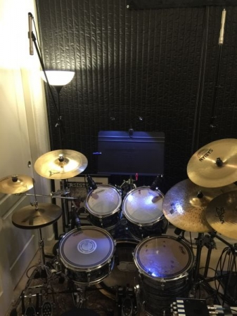 Overhead of Student Set - All Drums are Mic'd - Double Pedal