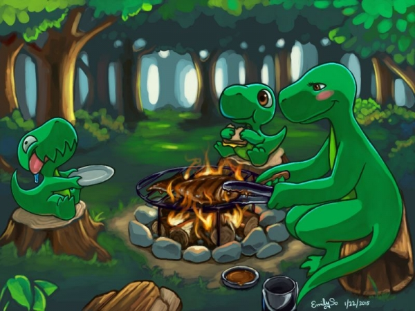 "scene/concept art, from my original comic ""Dinnersaurus Rex."" This illustration was made specifically for a video game based on the series."