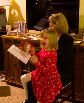 Having some fun during our carol-sing at the Christmas Open House 2014