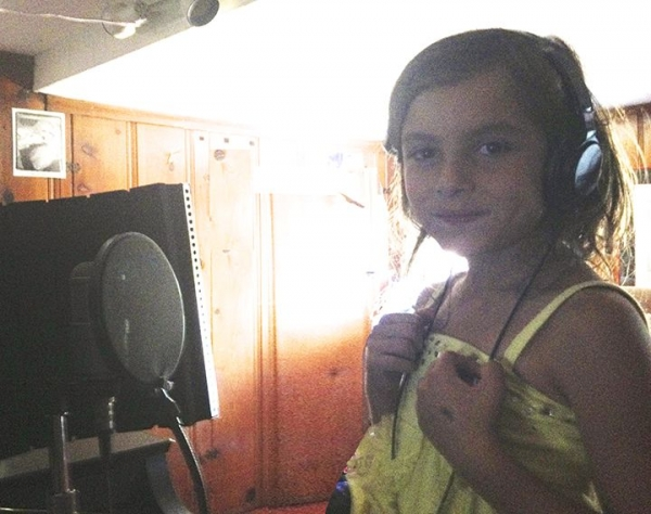 6 year old recording in the studio.