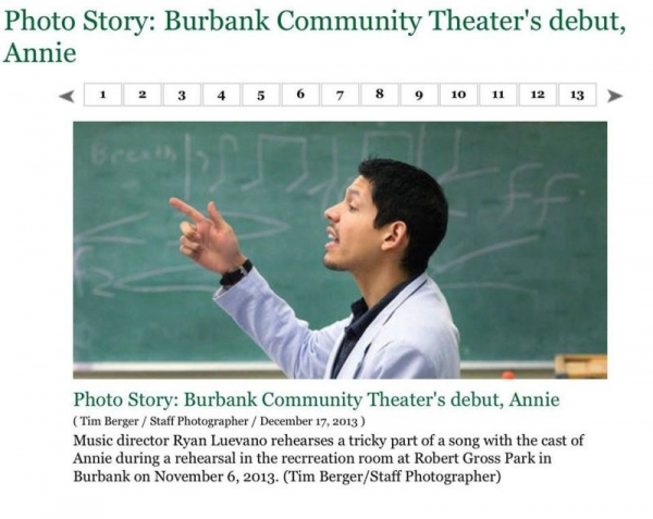 "A photo from the Burbank Leader about my production of ""Annie."""