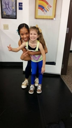 "my tiny dancer asked me the week before this photo ""how can we dress like twins?"" So I told her we'll wear her favorite 2 colors.. Gold/blue"