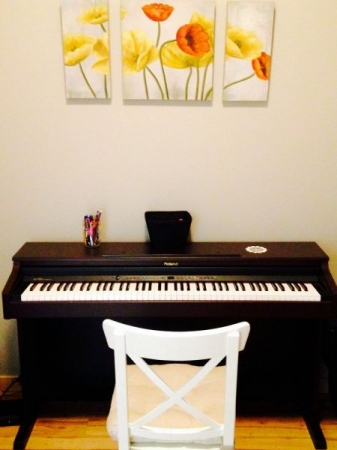 My Roland digital piano with awesome weighted keys.  This pic is from my new Downtown Sioux Falls home studio location!