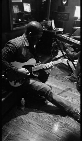 Up late in the studio, laying down guitar tracks!