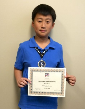Kevin Zhang (11 yr old) won the Gold Medal at Sounds of Baroque Festival 2015 of MTACSC Branch.