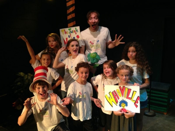 Cast photo of K&A Theatrical's production of Seussical the Musical at the Attic Theater in Los Angeles.