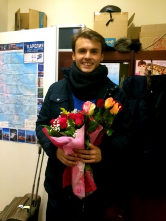 Exhausted but happy after a performance)