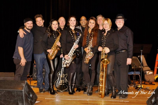 The Saxations Band. I am fourth from the left between Tomoka & Allison. Big smiles all around because we had an amazing show!