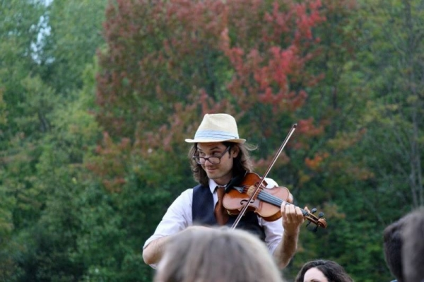 Playing at a wedding in Vermont.