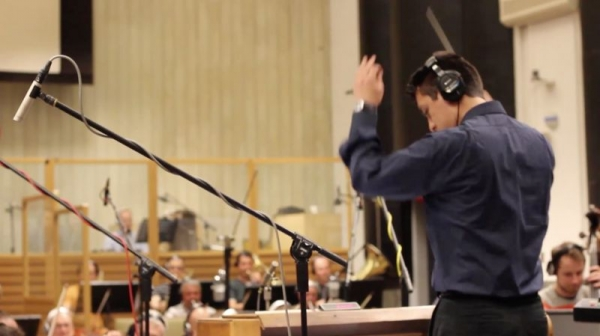 Recording my pieces with the City of Prague Philharmonic Orchestra in Czech Republic.