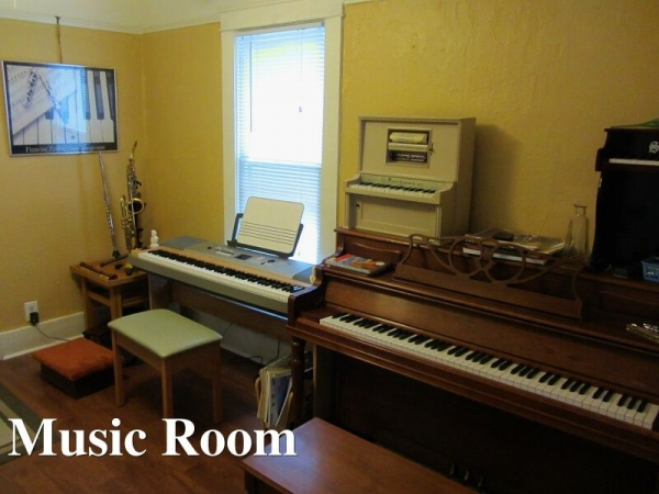 Lessons are done in the special music room, there are almost too many instruments in this room...