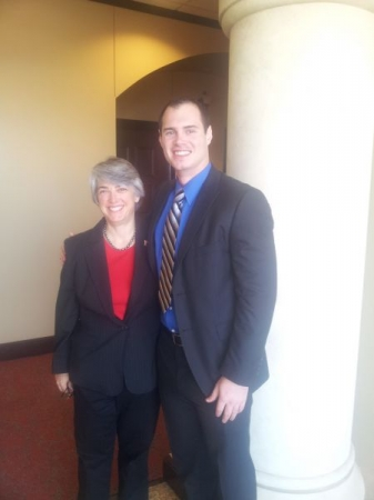 Texas Tech School of Law Dean Darby Dickerson taking time to pose for a picture with me after lunch.