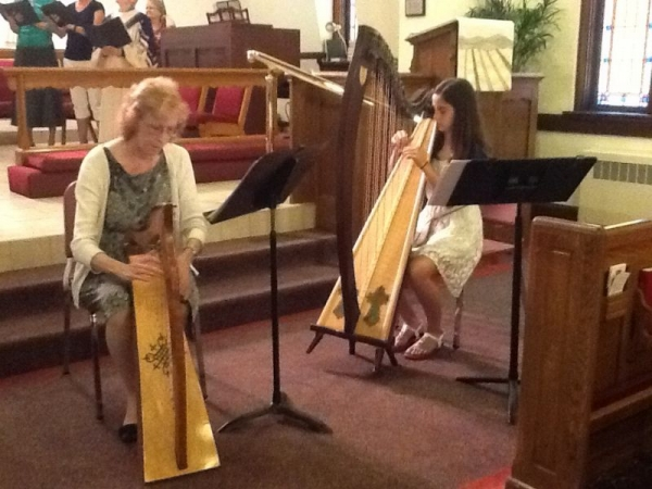 I am playing a lap harp with Jenna Horan at Seminole Presbyterian.