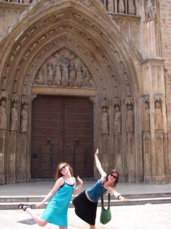 My sister and I strike a pose in Spain.