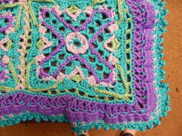 Detail of Embellished Granny Square (Crochet) Afghan.