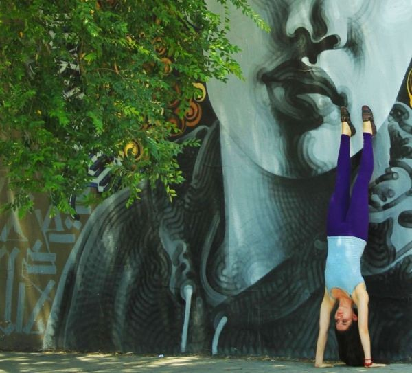 Handstand at Melrose and Fairfax for #TheStrangeisBeautiful photoshoot. Photgraphy by Kassandra Salazar.