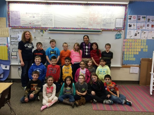 Teaching simple machines to 3rd graders in their classroom (winter 2014).