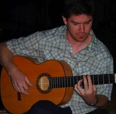 Here I am playing flamenco guitar at a friend's wedding.