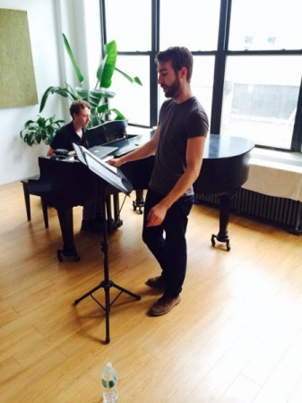 Rehearsing for a recital of music by contemporary American composer in New York City, with pianist Jesse Pieper and cellist Jonathan Carbin.