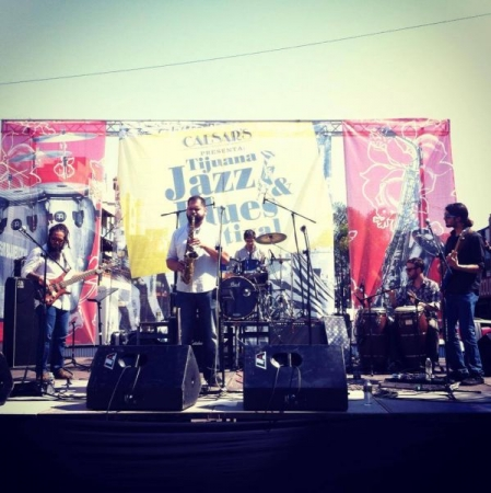 Performing at the Tijuana Jazz and Blues Festival 2014 with my group the Afrojazziacs
