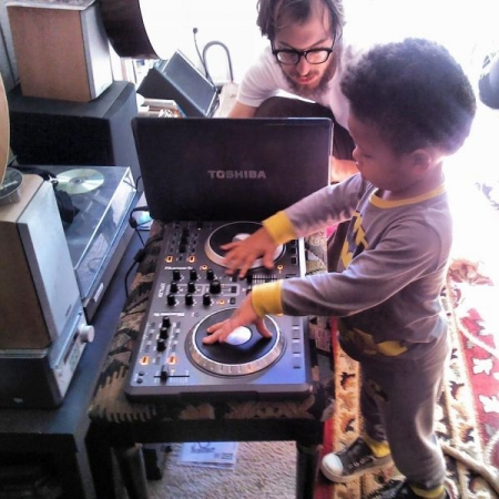 Teaching a 3 year old some DJ tricks