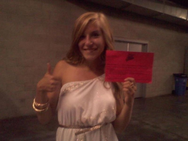 "15 year old student Brianna Sittman red call back card for ""The Voice"" 2013"