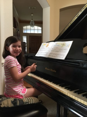Beginning Piano Lesson on our Mason & Hamlin Grand Piano