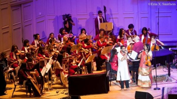 Performing on voice and violin at the Boston Symphony Hall, October 2014