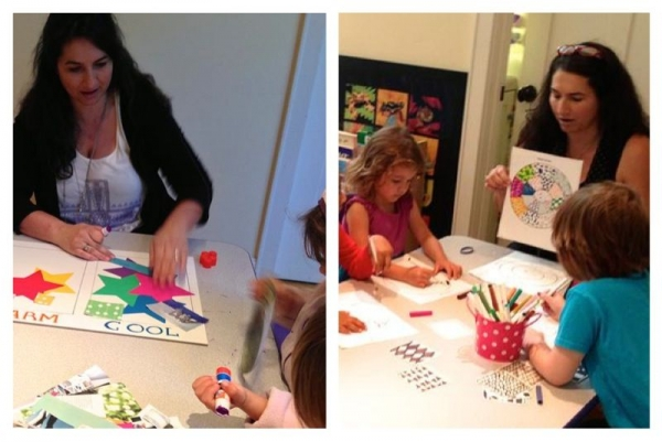 Teaching some of my pre-K kids about warm and cool colors.