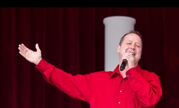 Here I am singing at the American Gardens Theater at Epcot.