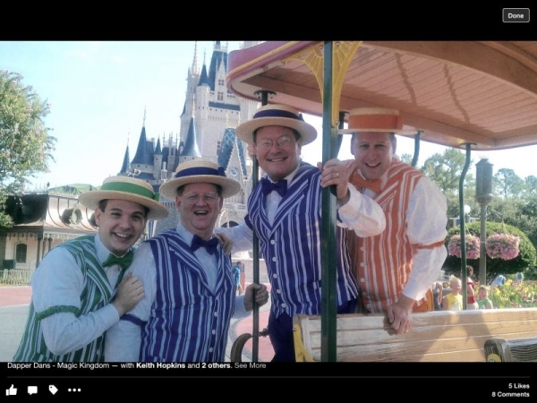 Singing tenor with The Dapper Dans at Disney.