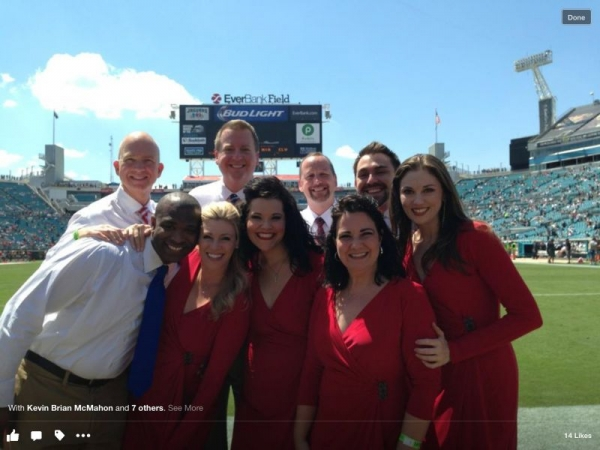 Singing the National Anthem with The Liberty Voices for a Kansas City Chiefs vs Jacksonville Jaguars game.
