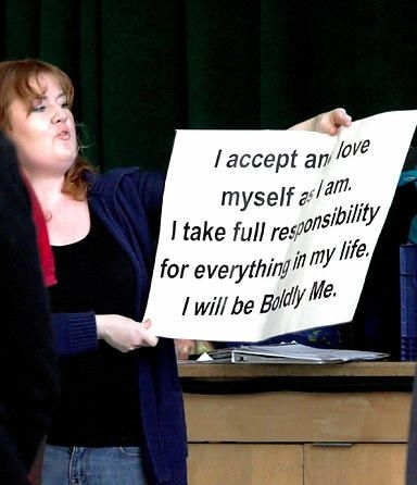 Me leading a drama class with Boldly Me.