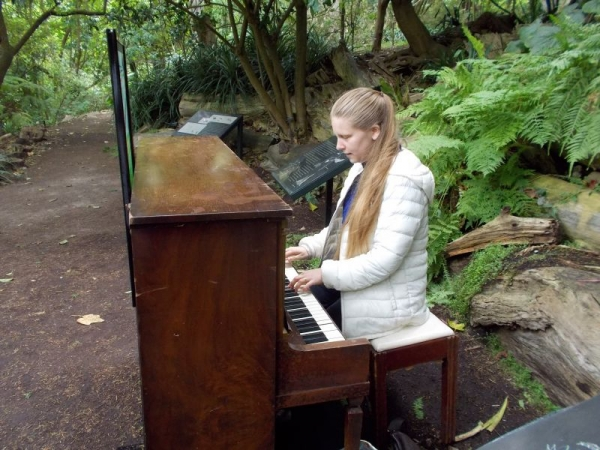 "Trying out one of twelve pianos at the San Francisco Botanical Gardens during their ""Flower Piano"" event in July 2015."