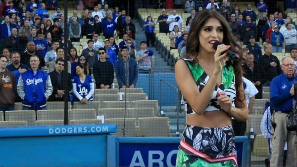 Performing the National Anthem at Dodger Stadium on May 15, 2015 at the LA Dodgers vs. Colorodo Rockies game.