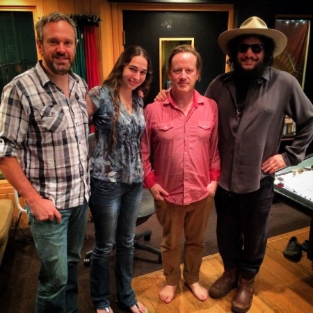 "Neil Diamond recording session at Jim Henson Studios Hollywood with fiddler Kira Ott & producers Garret ""Jacknife"" Lee and Don Was."