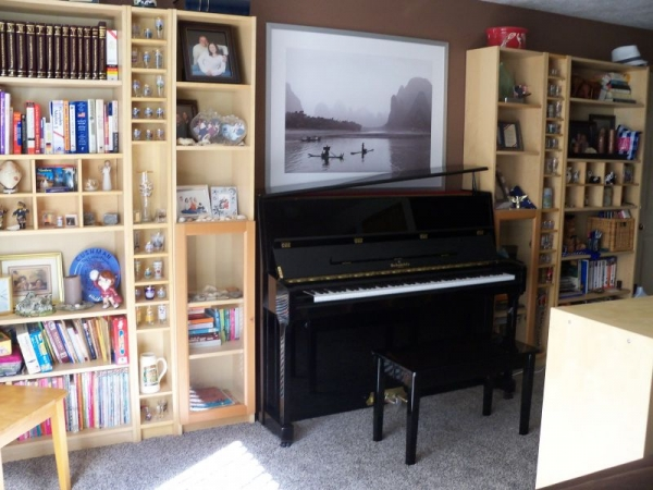 This is where I give lessons. I have a 2013 Knabe extended upright. It has a gorgeous deep sound, and is very responsive.