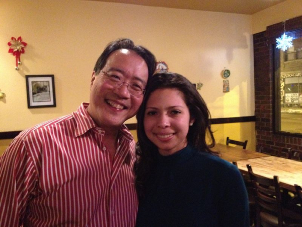 with cellist Yo-Yo Ma after a concert in Chicago, IL
