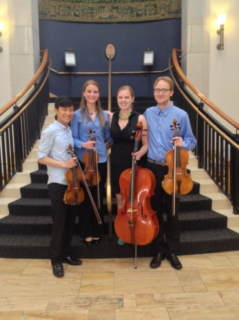 Myself with a student quartet at the Lamont School of Music, shortly after a performance of Haydn's Op. 76 No. 5 quartet.