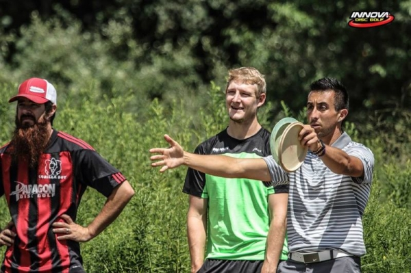 Myself and the 4x World Champion Paul McBeth Opening round 2015 Disc Golf World Championshps in Pittsburgh.