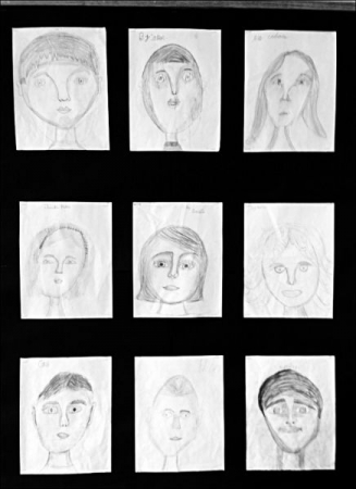 4th Grade Self Portraits- study of liness, shapes, and proportion in space.