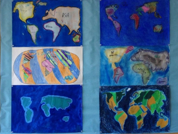 5th Grade World Map- Shapes in Space