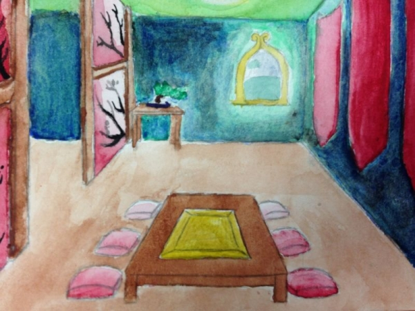 8th Grade Student Artwork- Watercolor Interior Design