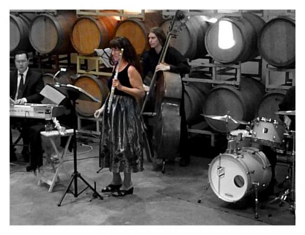 Performing in winery with jazz quartet