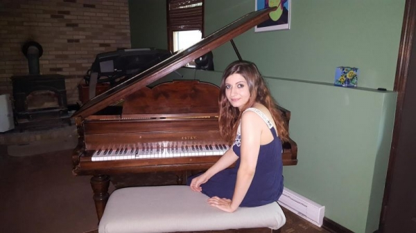 With my piano (who is named after Chopin!)