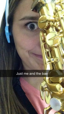 Me being silly with my saxophone while practicing for my senior recital at Capital University. My instrument was my life!