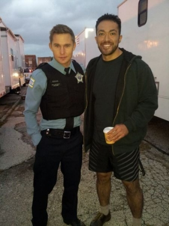 Outside the trailers waiting to shoot my guest spot on Chicago PD. October 2014.