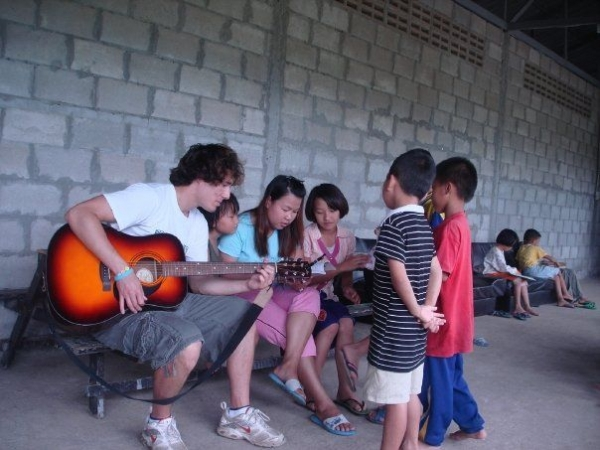 Playing at an orphanage in Thailand!