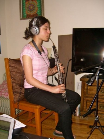 Recording session for composer Rebecca Brandt.